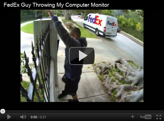 FedEx Guy Throwing Computer Monitor