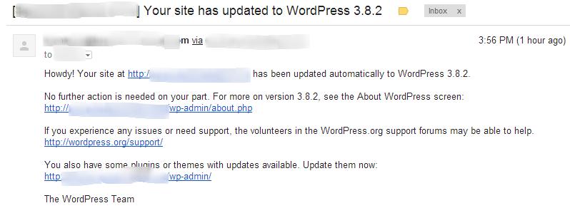 WordPress Automatic Upgrade Notification Email