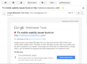 Google Webmaster Tools Mobile Usability Email