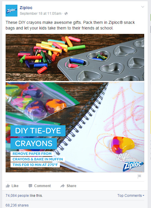 Ziploc Facebook Post: DIY Tie-Dye Crayons