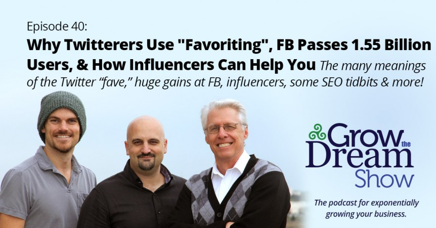 "Episode 40: Why Twitterers Use ""Favoriting"", FB Passes 1.55 Billion Users, & How Influencers Can Help You"